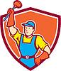 Plumber Holding-Plunger Bis Schild Cartoon | Stock Illustration