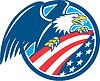 American Bald Eagle Greif USA Flaggen-Kreis Retro