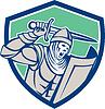 Kreuzfahrer-Ritter mit Schwert und Schild Retro
