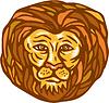 Lion Head Holzschnitt Linolschnitt