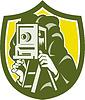 Fotograf-Schießen Weinlese-Kamera-Schild Retro