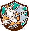 Viking Raider Barbar Krieger Axt Schild Retro