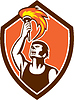 Athlete Spieler Raising Fackel-Schild Retro