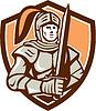 Ritter Volle Rüstung mit Schwert Schild Retro