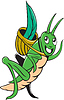 Grasshopper-tragender Korb Gras Cartoon