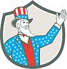 Uncle Sam amerikanische Hand oben Schild Retro