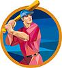 Baseball Batter Baseball schlagen Bat Kreis Low Polygon