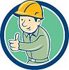 Векторный клипарт: Builder строитель пальцы вверх Круг Мультяшный