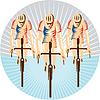 Radfahrer-Reit Fahrrad Radfahren Kreis Holzschnitt