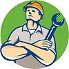 Builder Arme verschränkt Wrench Kreis Retro