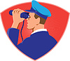 Vector clipart: Navy Captain Looking Binoculars Shield Retro