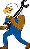 American Bald Eagle-Karikatur Mechaniker-Schlüssel