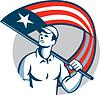 Amerikanischer Kaufmann hält USA Flaggen-Kreis
