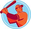 Baseball Batter Baseball schlagen Bat Kreis Retro