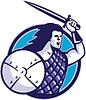 Highlander Scottish Scot Krieger Schwert Schild