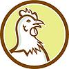 Huhn-Henne Kopfseite Kreis Cartoon