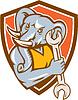 Elephant Mechanic Spanner Maskottchen Schild Retro