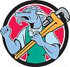 Dragon сантехник гаечный ключ Кулак насоса мультяшный | Векторный клипарт