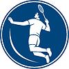 Badminton-Spieler Jump Smash Kreis Icon