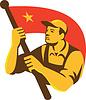 레드 플래그 스타 레트로와 공산주의 노동자 | Stock Illustration