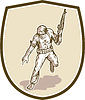 Amerikanischer Soldat Serviceman Armalite Rifle Cartoon