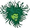 Green Man Глава развевающимися по ветру волосами Листья мультяшный | Иллюстрация