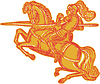 Vector clipart: Knight Full Armor Horseback Lance Etching