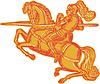 Vector clipart: Knight Full Armor Horseback Lance Etching