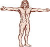 Vitruvian Man Arme verteilen Vorder Radierung