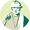 Векторный клипарт: Builder строитель указывая пальцем Трафарет