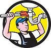 Klempner Reparatur Rohrzange Sink Kreis Cartoon