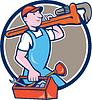 Plumber Trage Monkey Wrench Toolbox Kreis