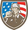 Weltkrieg Soldat amerikanischen Granat Crest Holzschnitt