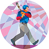 Baseball Batter Hitter Baseball schlagen Low Polygon