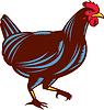 Huhn-Henne Gehen Side-Holzschnitt