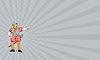 Визитная карточка испанский конкистадор Указывая мультяшный | Иллюстрация