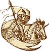 Ritter auf Pferd mit Flagge Zeichnung