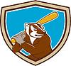 Badger Baseball-Spieler-Schlagen-Cartoon-Schild