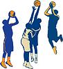 Basketball-Spieler-Schießen-Ball Retro-Sammlung