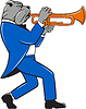 Векторный клипарт: Бульдог дуя Труба вид сбоку мультяшный