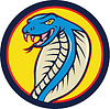Cobra Viper-Schlangen-Kopf Offensiv Kreis Cartoon
