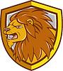 Злой Голова льва рев Щит Мультяшный | Иллюстрация