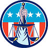 Hand Holding Scales of Justice Kreis Retro
