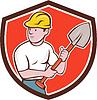 Builder Bauarbeiter Spade Schild Cartoon