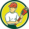 Klempner mit Monkey Wrench Kreis Cartoon