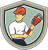 Klempner Halten Monkey Wrench Schild Cartoon