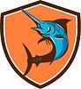 Blue Marlin Fisch-Springen Retro Schild