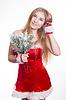 Schöne sexy Mädchen mit santa | Stock Foto