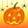 Векторный клипарт: Хэллоуин тыква и черные пауки на веб