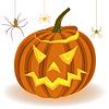 Векторный клипарт: Хэллоуин тыква и пауки на веб